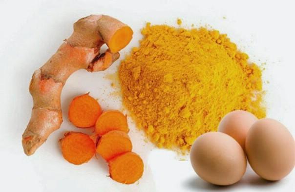 Hình ảnh mặt nạ nghệ trứng gà trị mụn dành cho da nhờn